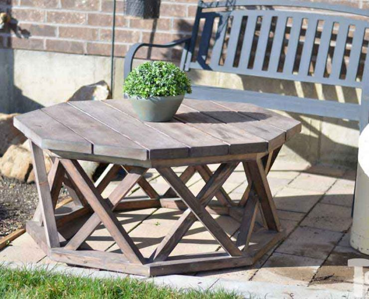 Octagon coffee table with x base spruc d market for Octagon coffee table plans