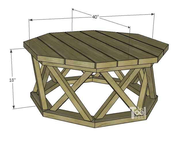 This Is A Digital PDF Download Product Featuring Step By Step Building  Plans For The Octagon Coffee Table With X Base. Plans Include A Materials,  Tools, ...
