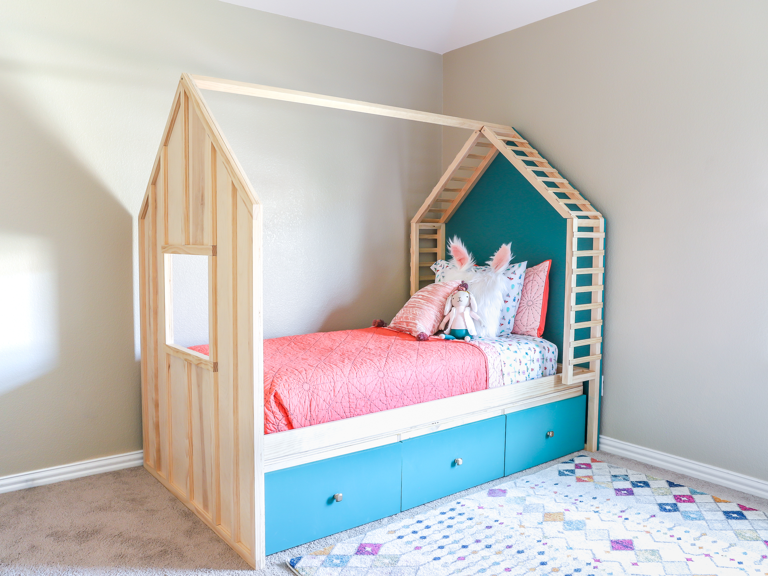 Kid's House Bed with Storage (Twin Size) - Spruc*d Market