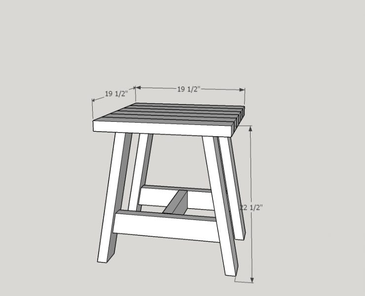 2D image of 2x4 Outdoor Side Table with measurements