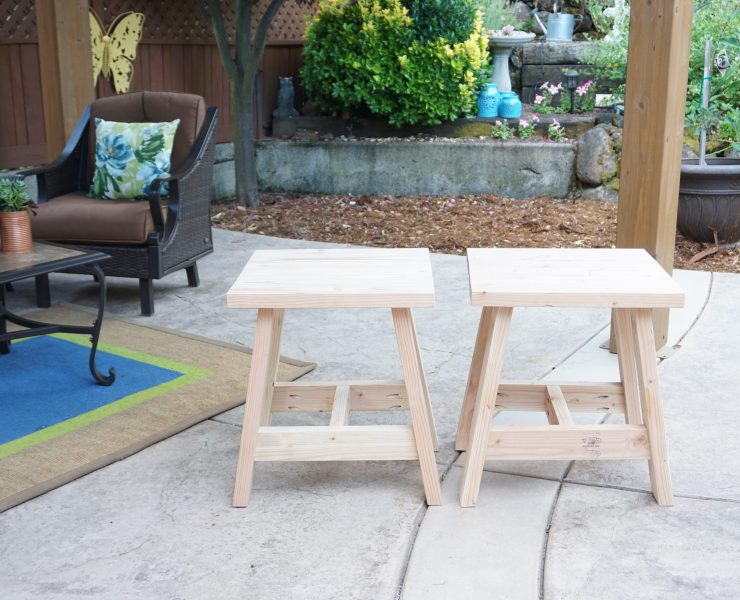 2x4 tables side-by-side on patio