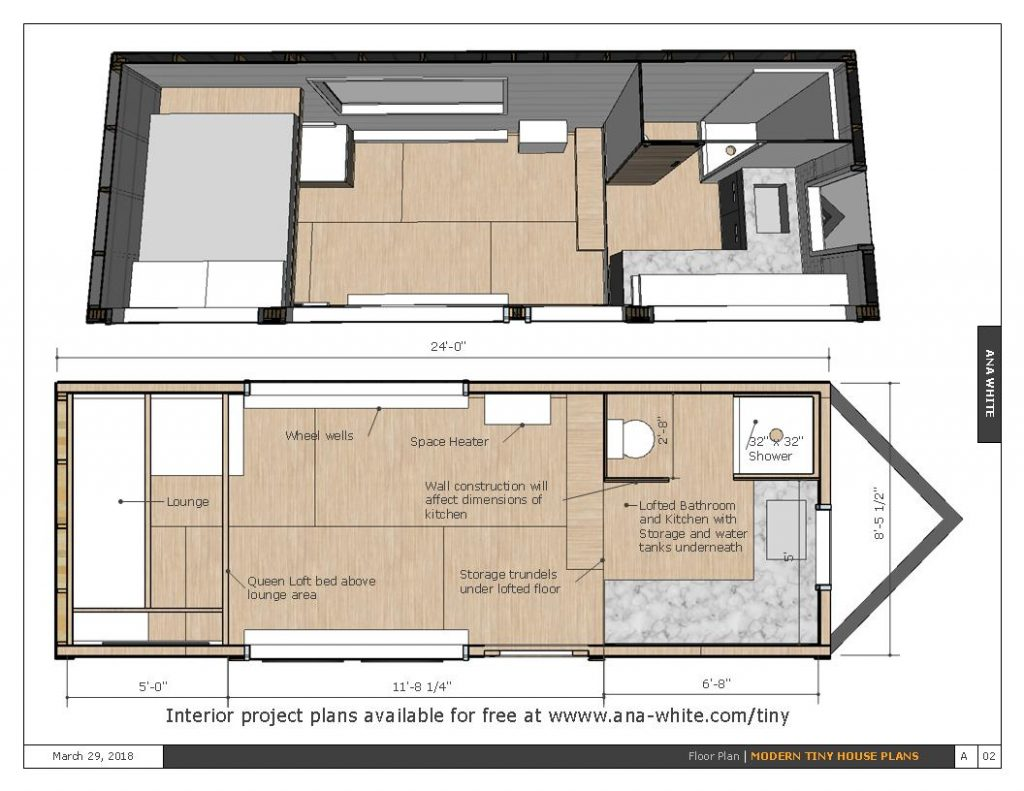 Tiny Home Designs: Open Concept Rustic Modern Tiny House Framing Shell