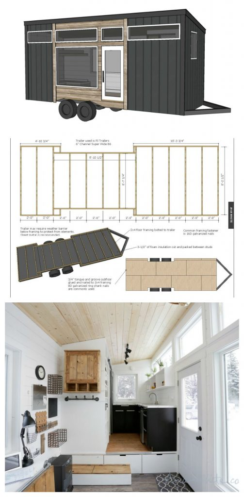 Tiny Home Designs Plans: Open Concept Rustic Modern Tiny House Framing Shell