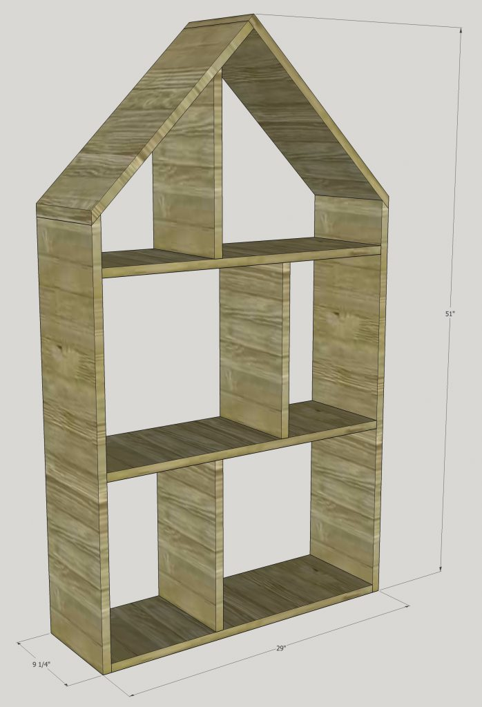 Exclusive project plans for a dollhouse bookshelf by Rustic Meadows